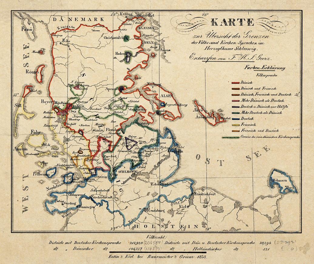 Franz Geerz S Kort Over Sprogforhold I Sonderjylland 1838